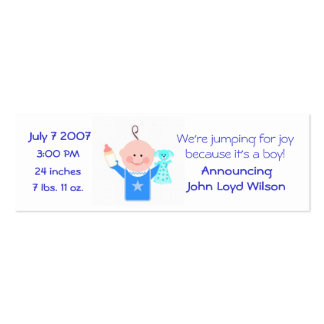 Baby Boy Personalized Announcement Card Business Card Template
