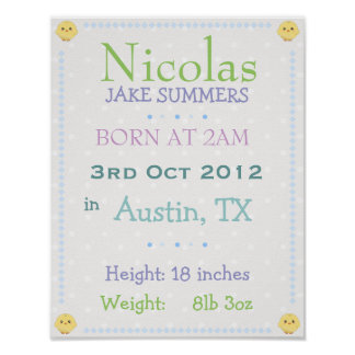 Baby boy personalized date of birth print