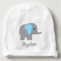 Baby Boy Personalized Elephant Blue Chevron Hat