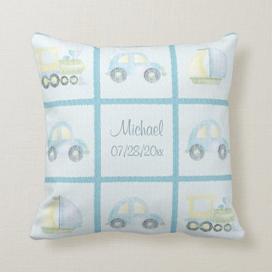 Baby Boy Personalized Throw Pillow