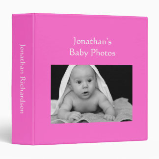 Baby Boy photo album bright pink custom photo 3 Ring Binder