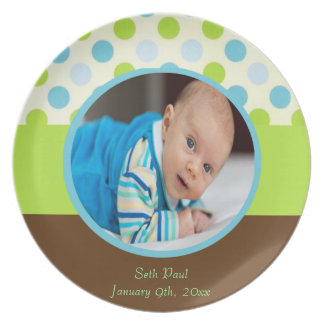 Baby Boy Photo Announcement Melamine Plate