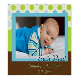 Baby Boy Photo Announcement Poster