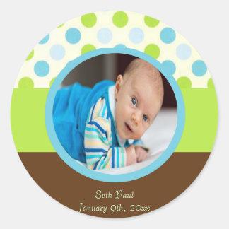 Baby Boy Photo Announcement Classic Round Sticker