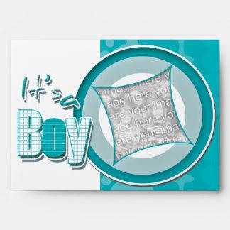 Baby boy photo birth announcement envelopes