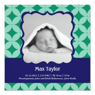 """Baby Boy Photo Birth Announcement 5.25"""" Square Invitation Card"""