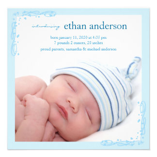 Baby Boy Photo Birth Announcements Soft Blue Swirl