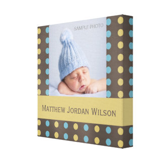 Baby Boy Photo Canvas Brown Blue Yellow Dots