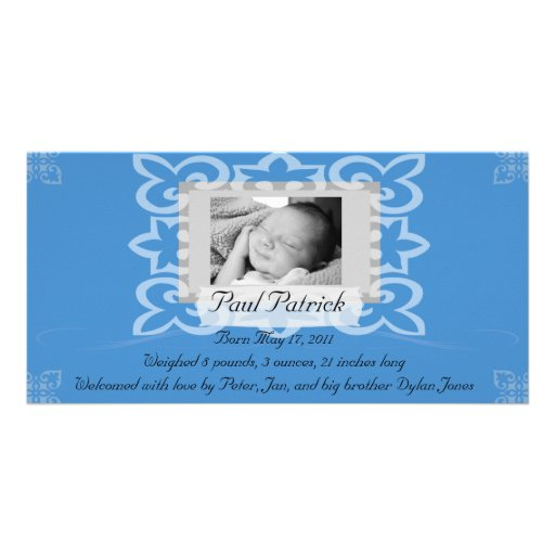 Baby Boy Photo Card Announcement