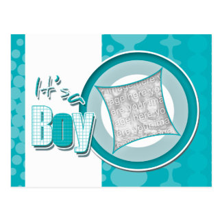 Baby boy photo card announcement postcard