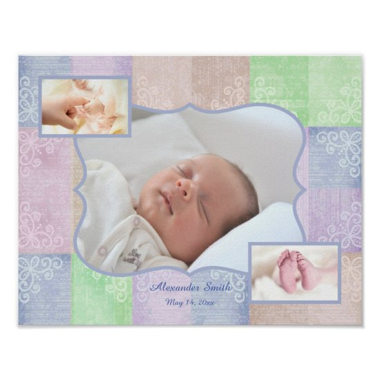 Baby Boy Photo Collage Poster