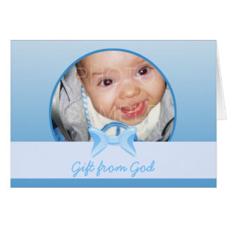 Baby boy Photo Gift from God Blue bow Bible verse Card
