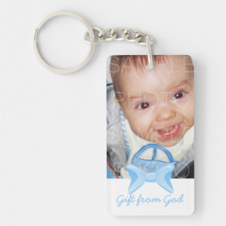 Baby boy Photo Gift from God Blue bow Bible verse Keychain