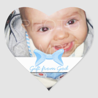 Baby boy Photo Gift from God Blue bow Heart Sticker