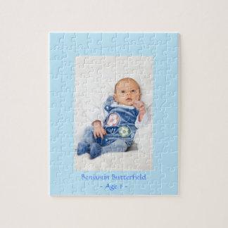 Baby Boy Photo in Blue Frame Custom Jigsaw Puzzle