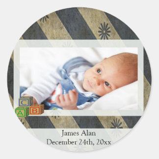 Baby Boy Photo Keepsake Classic Round Sticker