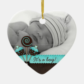 Baby Boy Photo Ornament Cake Pops Blue