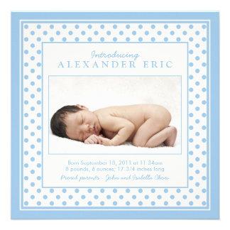 Baby Boy Photo Polka Dot Birth Announcement