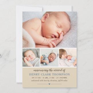 Baby Boy Photo Rustic Birth Announcement Card