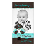 Baby Boy Photocard Announcement Cake Pops Blue Photo Greeting Card