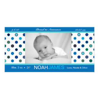 Baby Boy Polka Dot Birth Announcement Picture Card