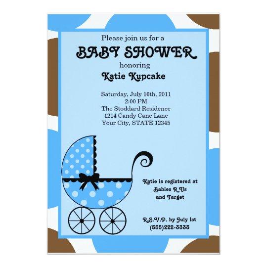 Baby Boy Polka Dot Stroller Baby Shower Invitation