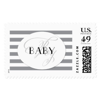 BABY Boy Postage Stamp Grey Stripes Black Accent