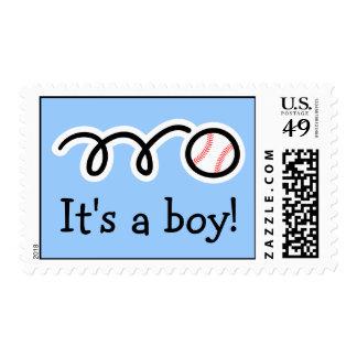Baby boy postage stamps | Baseball design