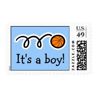 Baby boy postage stamps | Basketball design