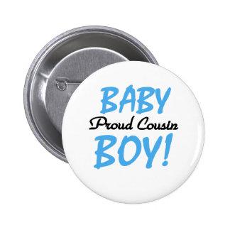 Baby Boy Proud Cousin Button