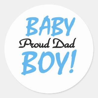 Baby Boy Proud Dad Classic Round Sticker