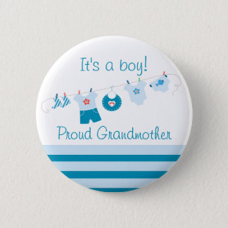 Baby Boy Proud Grandmother Blue Clothes Button