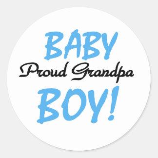 Baby Boy Proud Grandpa Classic Round Sticker