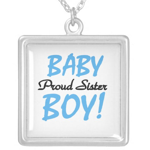Baby Boy Proud Sister Gifts Square Pendant Necklace