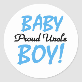 Baby Boy Proud Uncle Classic Round Sticker