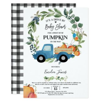 Drive Through Baby Shower Invitation Template, Fall Pumpkins in Truck