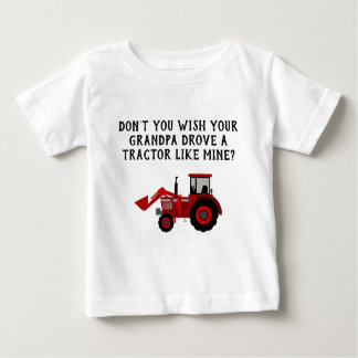 Baby Boy Red Tractor Grandpa Funny Baby T-Shirt