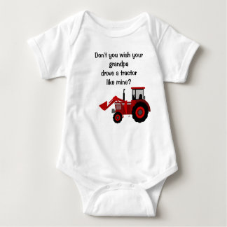 Baby Boy Red Tractor Grandpa Funny Saying Baby Bodysuit