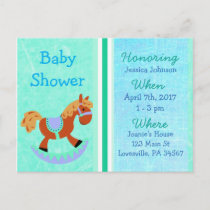 Baby Boy Rocking Horse Blue Baby Shower Invitation