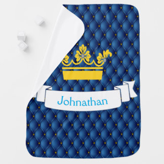 Baby Boy Royal Blue Prince Pin-tuck Gold Crown Stroller Blanket
