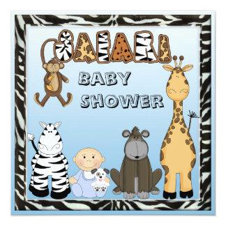 Baby Boy & Safari Animals Baby Shower 5.25x5.25 Square Paper Invitation Card