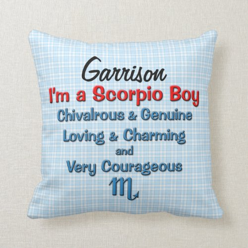 Baby Boy Scorpio Zodiac Personalized Pillow