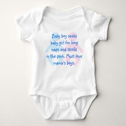 Baby Boy Seeks Baby Girl Funny T-Shirt