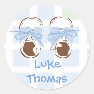 Baby Boy Shoe Gift Label Classic Round Sticker