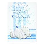 Baby boy shower blue 5x7 paper invitation card