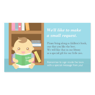Baby Boy Shower Book Insert Request Card Double-Sided Standard Business Cards (Pack Of 100)