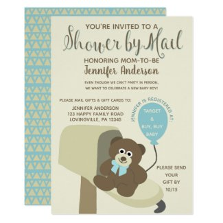 Baby Boy Shower by Mail Teddy Bear Invitation
