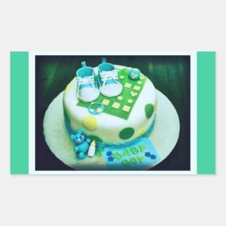 Baby Boy Shower Cake Rectangular Sticker