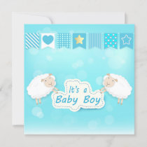 Baby boy shower card with Sheep