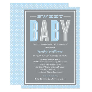 Baby Boy Shower | Chic Type in Blue and Gray Card